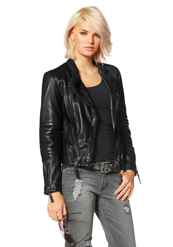 Laura Scott Lederjacke im Bikerstil in schwarz