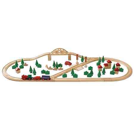 Eichhorn Eisenbahn aus Holz, 80-tlg.