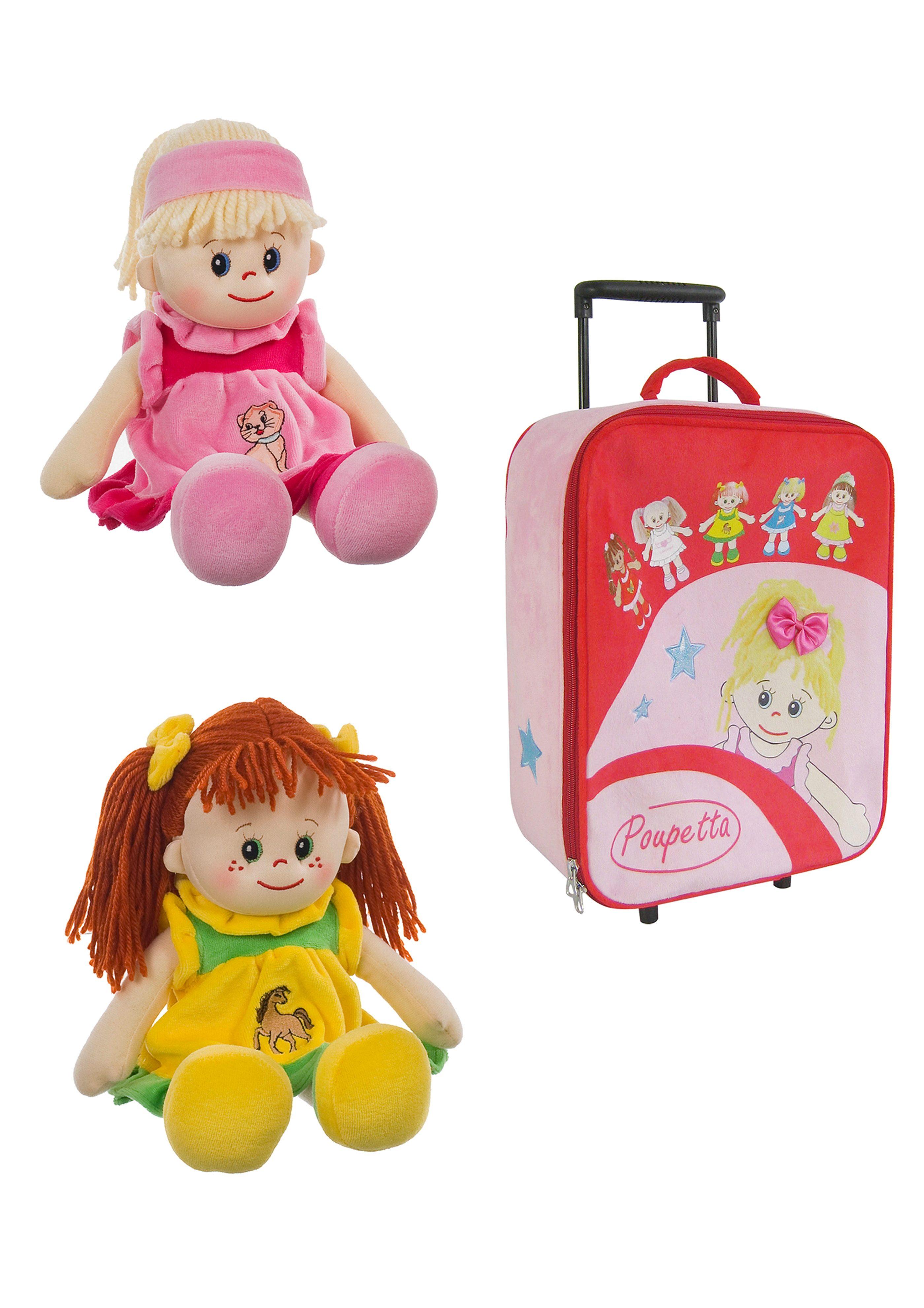 Heunec Set: 2 Puppen u. Kinder Trolley »Poupetta Lotte Poupetta Liesel und Kinder Trolley«
