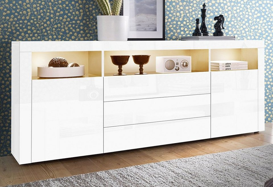 sideboard wei hochglanz mit holz. Black Bedroom Furniture Sets. Home Design Ideas