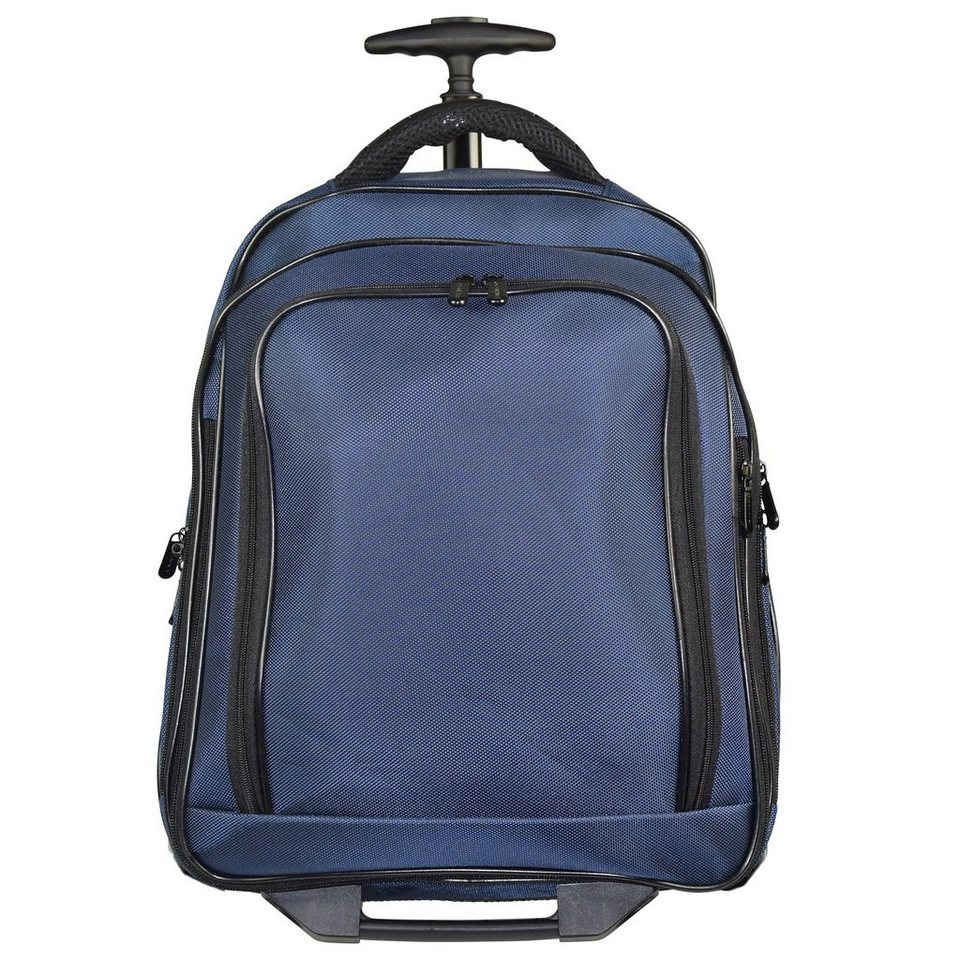 Dermata 2-Rollen Rucksack-Trolley 43 cm Laptopfach in blau
