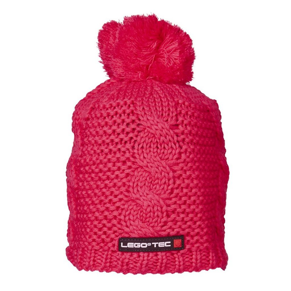 "LEGO Wear Strickmütze mit Bommel ""UNI"" Winter Kappe Skimütze LEGO® TEC Hut in pink"