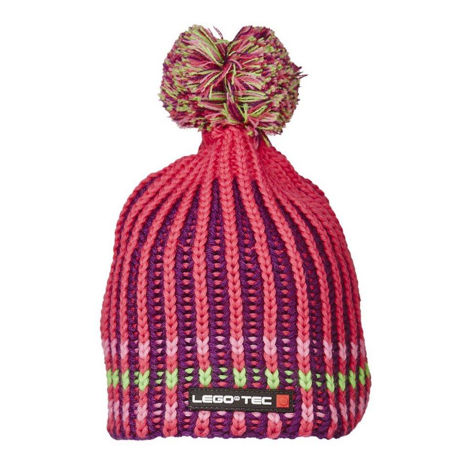 "LEGO Wear Strickmütze mit Bommel Winter ""STREIFEN"" Kappe Skimütze LEGO® TE in pink"