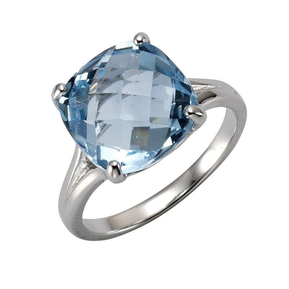 Zeeme Ring »925/- Sterling Silber rhodiniert Blautopas« in weiß