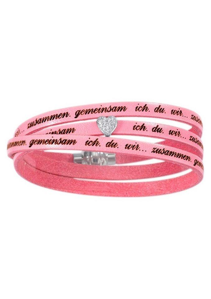 """firetti Armschmuck: Partnerschmuck """"Herz"""" Armband/Wickelarmband """"ich.du.wir...zusammen.gemeinsam"""" in pink"""