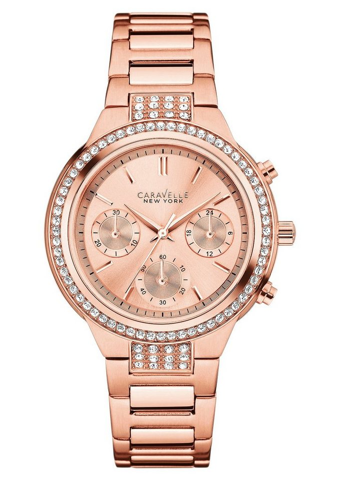 Caravelle New York Chronograph »New Boyfriend, 44L180« in roségoldfarben