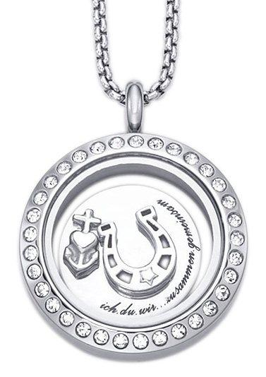 """firetti Halsschmuck/Partnerschmuck: Halskette Medaillon mit Gravur """"ich.du.wir...zusammen.gemeinsam"""" in Edelstahl"""