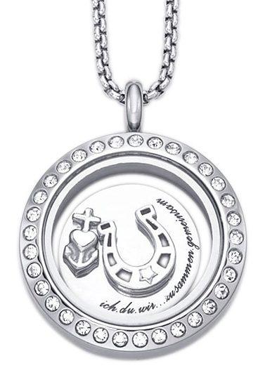 """firetti Halsschmuck/Partnerschmuck: Halskette Medaillon mit Gravur """"ich.du.wir...zusammen.gemeinsam"""""""