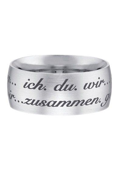 """firetti Partnerschmuck: Partnerring mit Außengravur """"ich.du.wir...zusammen.gemeinsam"""" in Edelstahl"""