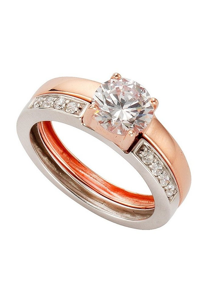 "firetti Ring ""In Liebe"" mit Zirkonia in Silber 925/tw. roségoldfb. vergoldet"
