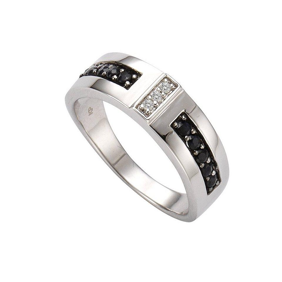 CELESTA Ring »925/- Silber 3xDiamant« in schwarz