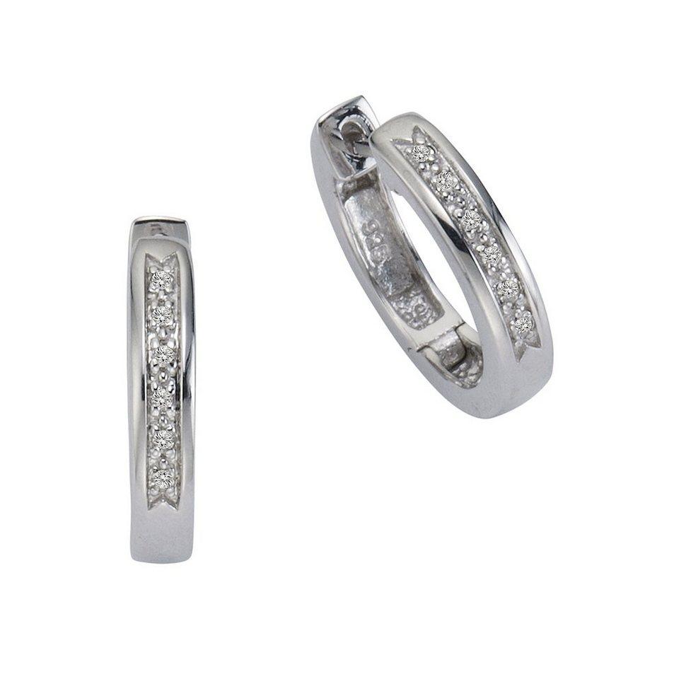 CELESTA Creolen »925/- Silber 12xDiamant« in weiß