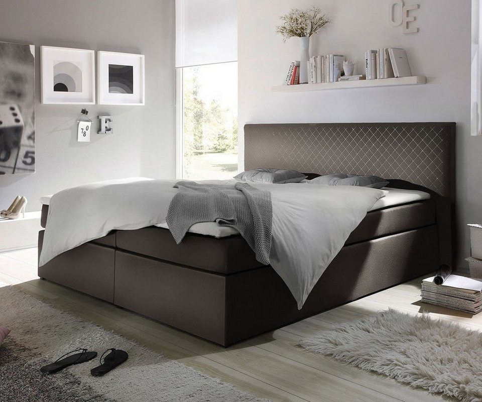 delife polsterbett stafford grau 180x200 kopfteil abgesteppt online kaufen otto. Black Bedroom Furniture Sets. Home Design Ideas