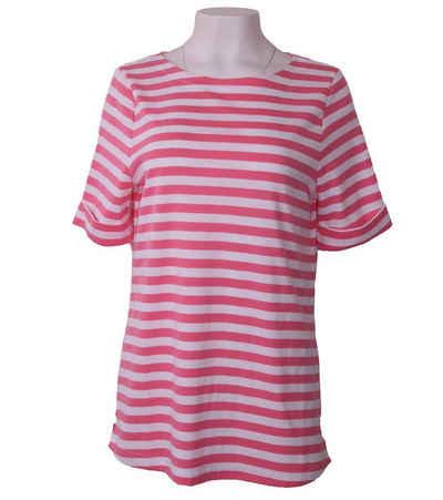 efixelle T-Shirt »effixelle Shirt farbenfrohes Damen Sommer-Shirt Kurzarm mit U-Boot Ausschnitt Haus-Shirt Weiß/Rosa«