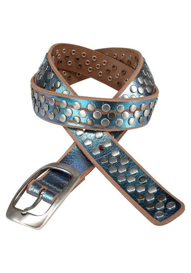 J. Jayz Ledergürtel mit Nieten in blau