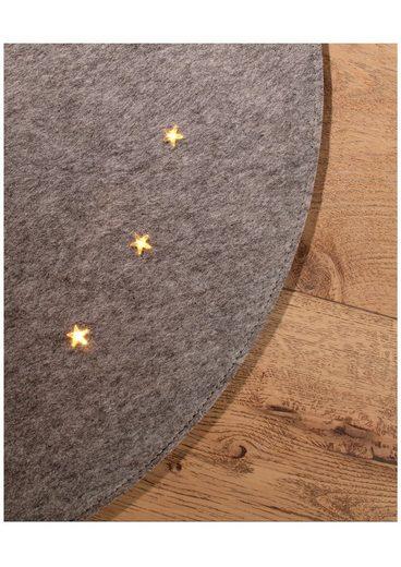 Baumteppich »Filzoptik«  rund  Höhe 4 mm  Ø 90 cm  mit LED-Beleuchtung
