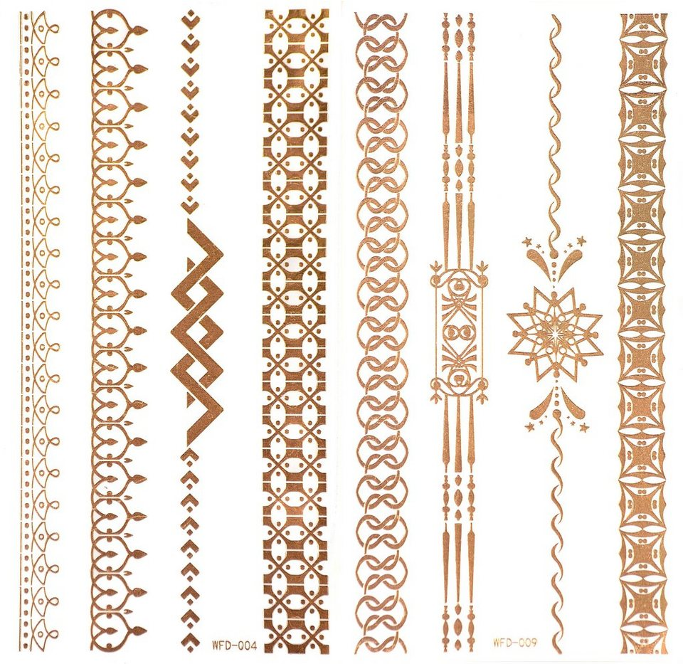 Schmuck-Tattoos, »3D Flash Tattoos«, Gold-Tattoos mit 3D-Effekt (2-tlg. Set) in Gold
