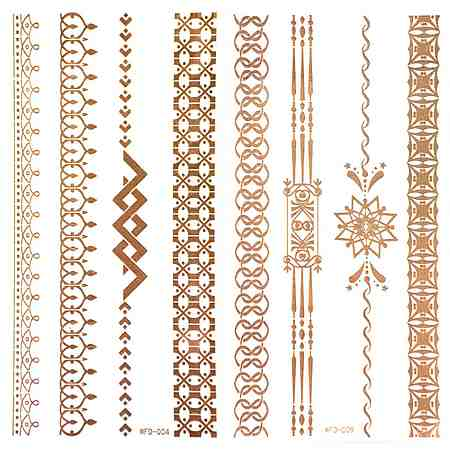 Schmuck-Tattoos, »3D Flash Tattoos«, Gold-Tattoos mit 3D-Effekt (2-tlg. Set)