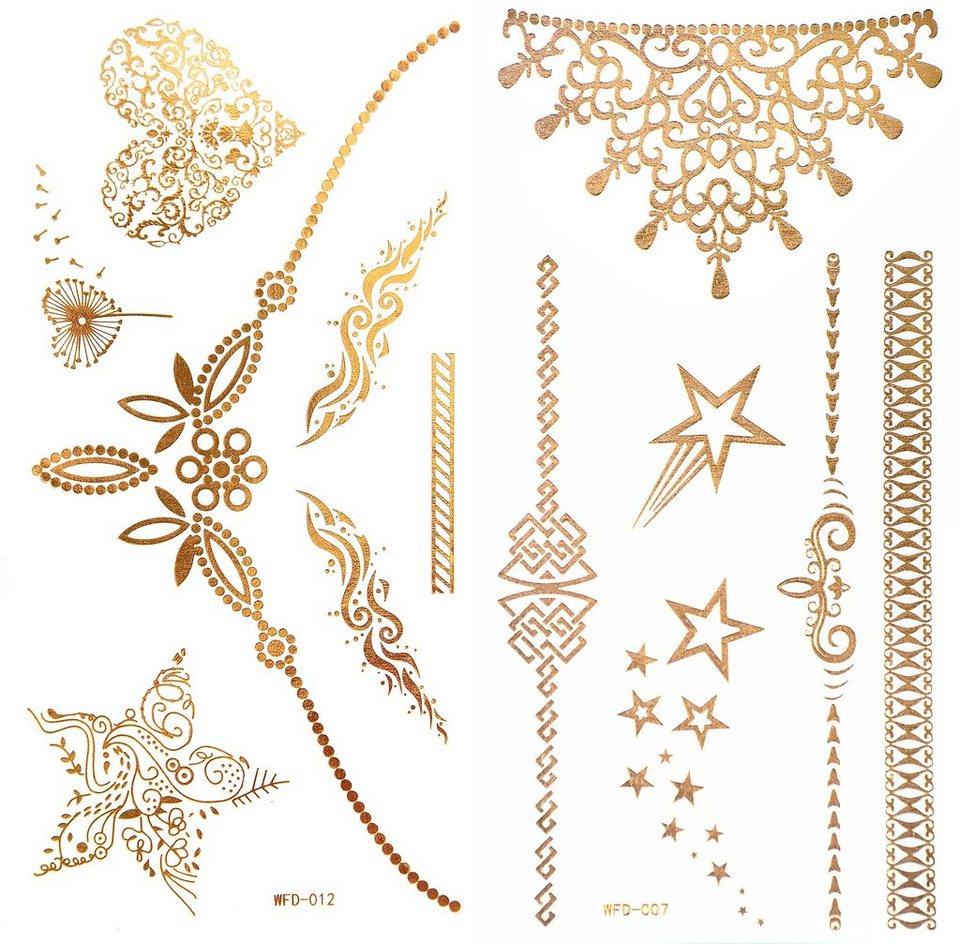 Schmuck-Tattoos, »3D Flash Tattoos«, Gold-Tattoos mit 3D-Effekt (2-tlg. Set) in Gold