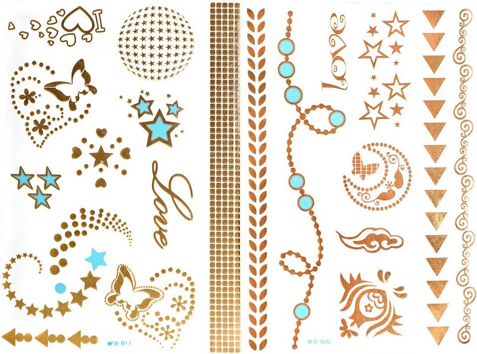 Schmuck-Tattoos, »3D Flash Tattoos«, Gold-Tattoos mit 3D-Effekt (2-tlg. Set) in Gold/Türkis