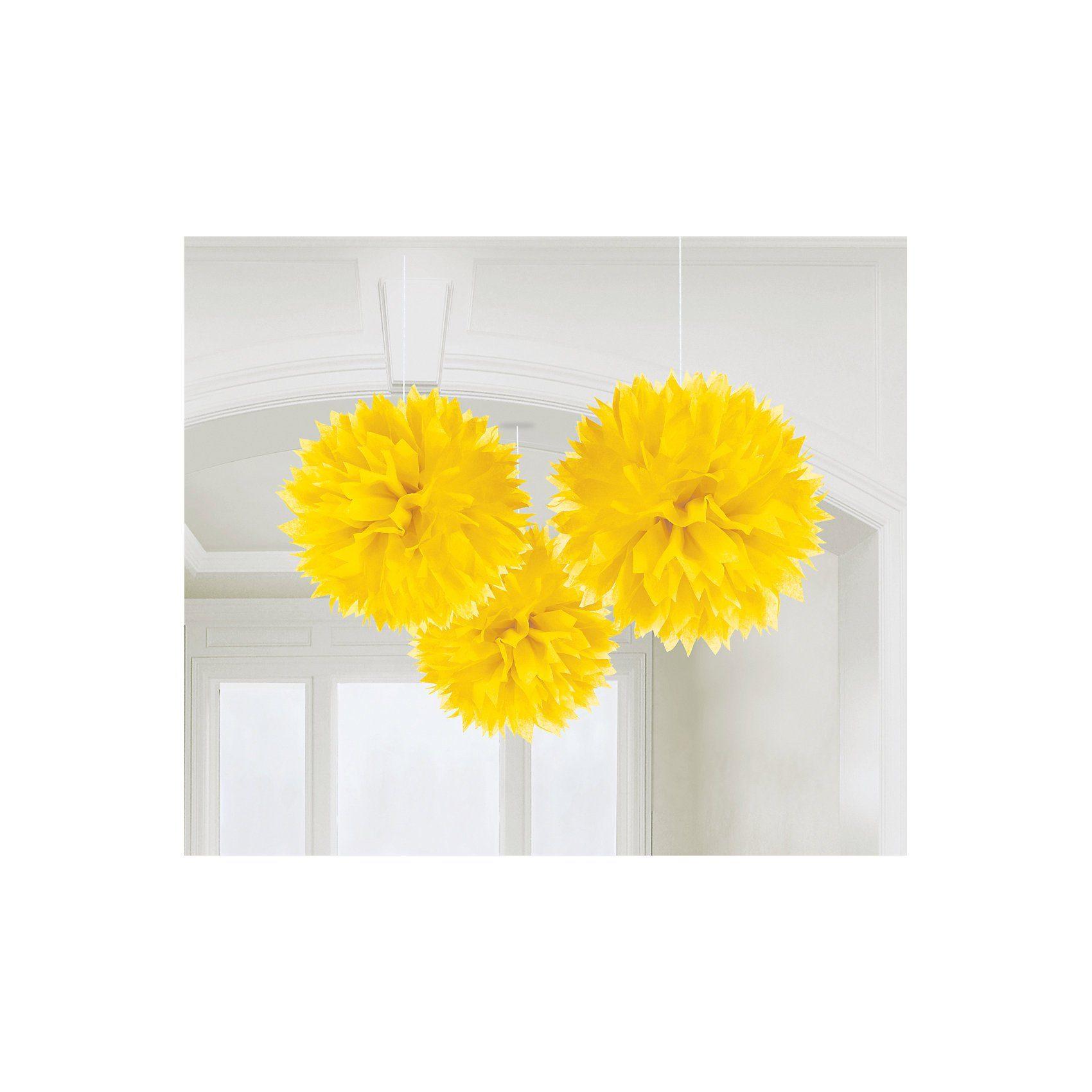 Amscan Pom Pom gelb, 3 Stück