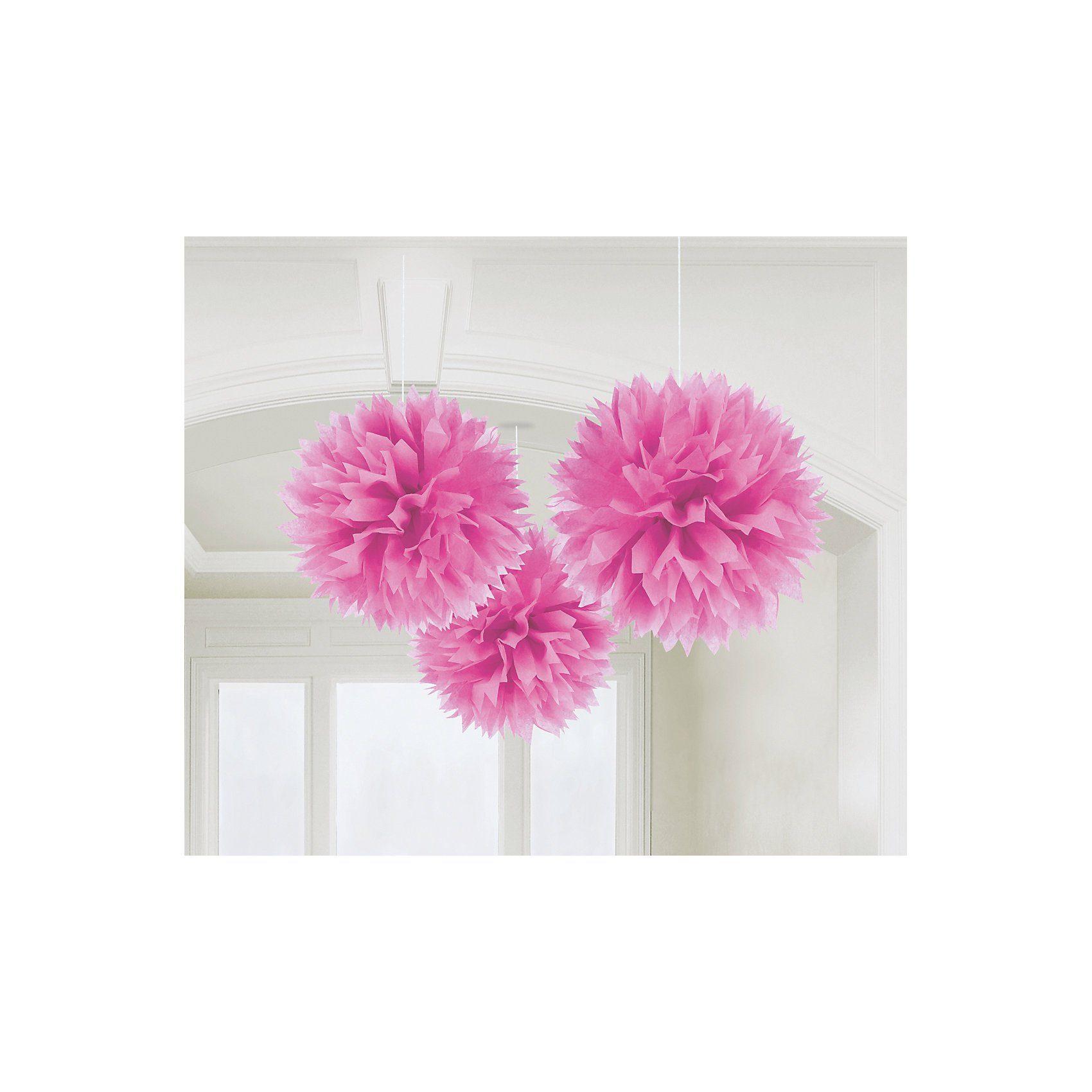 Amscan Pom Pom pink, 3 Stück