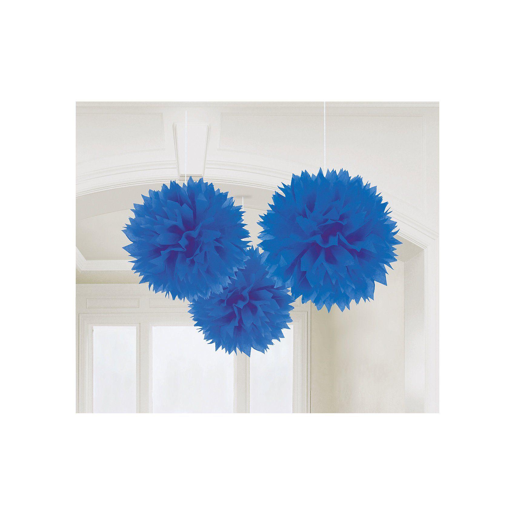 Amscan Pom Pom blau, 3 Stück