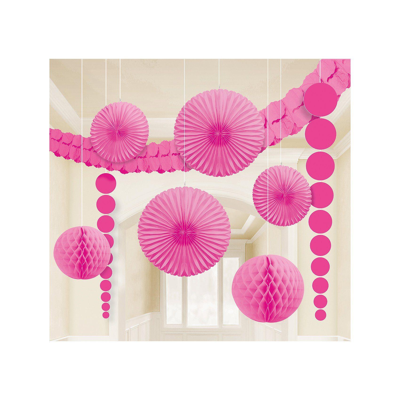 Amscan Deko-Set pink, 9-tlg.