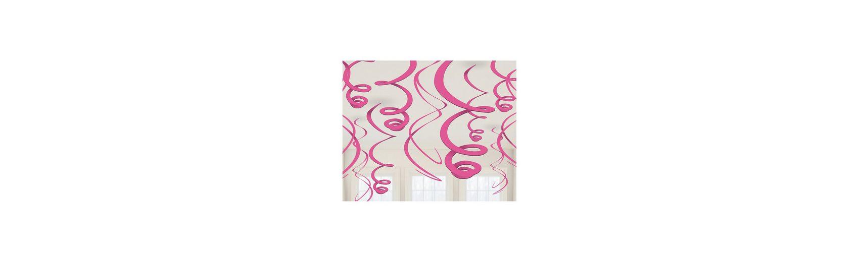 Amscan Dekospiralen pink, 12 Stück
