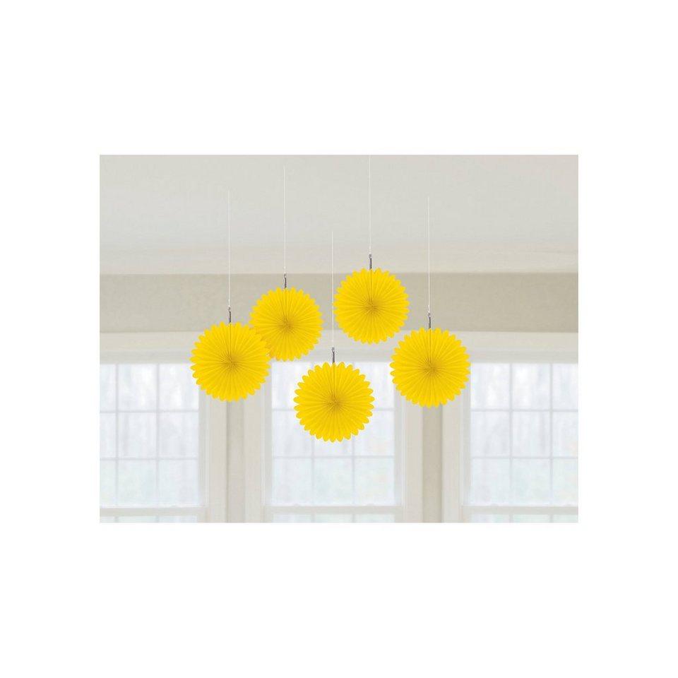 Amscan Deko-Fächer gelb, 5 Stück in gelb