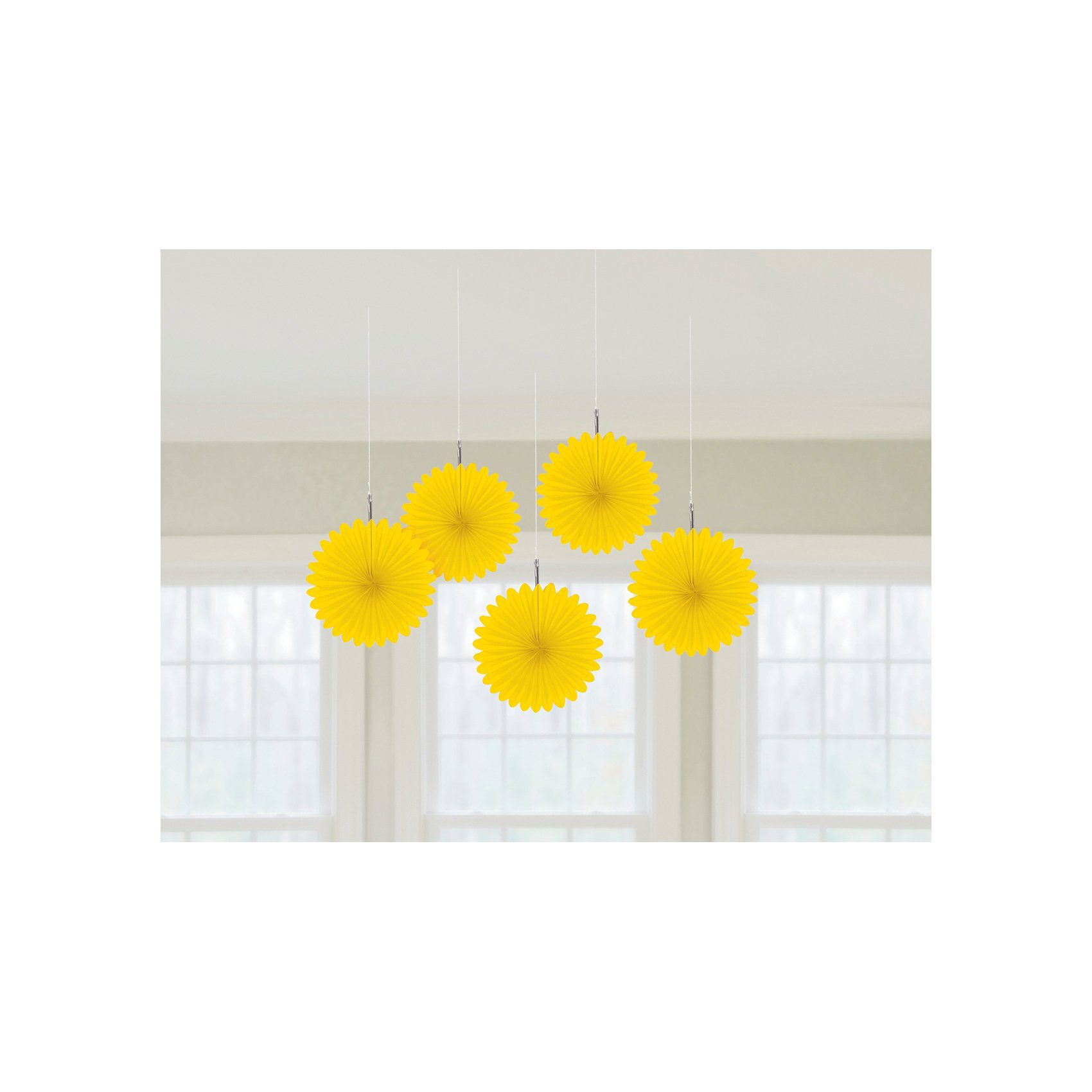 Amscan Deko-Fächer gelb, 5 Stück