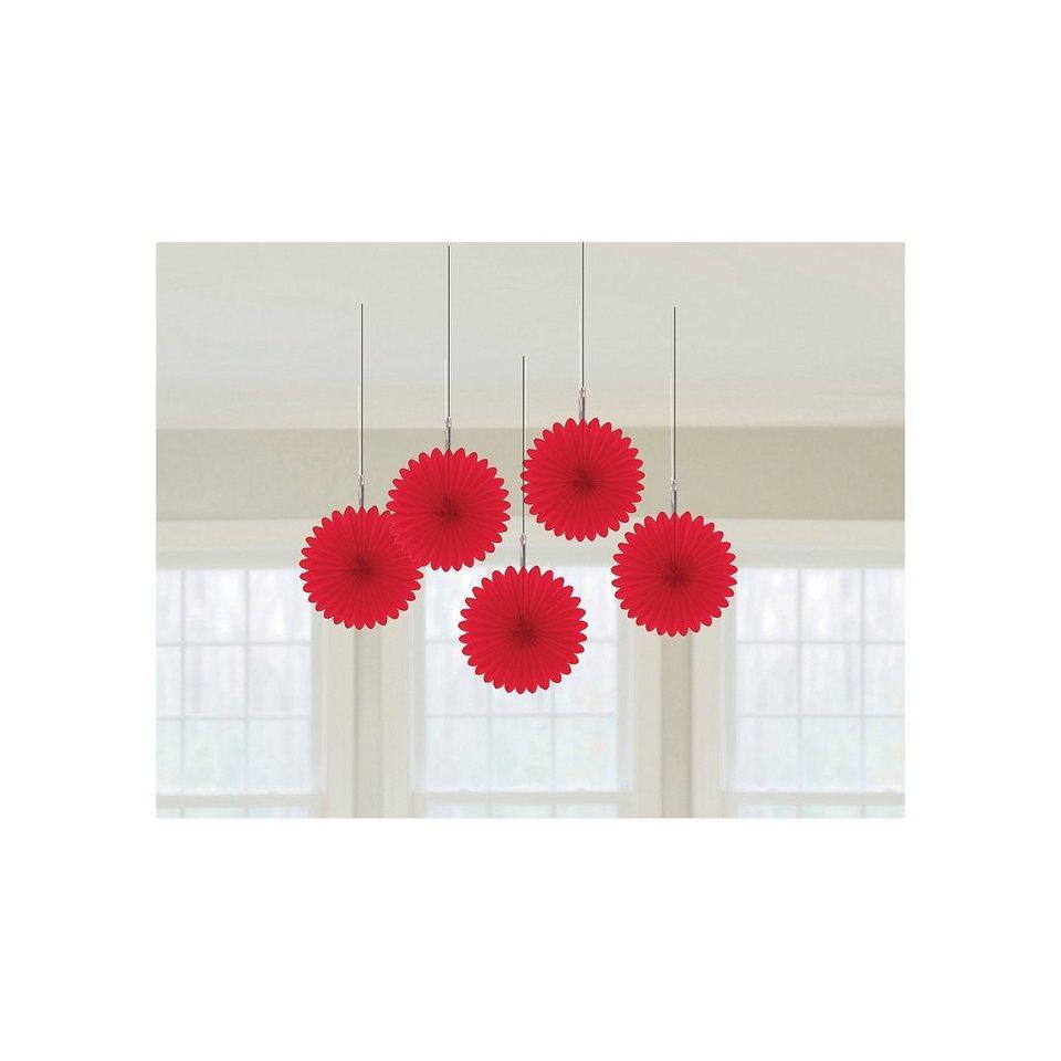 Amscan Deko-Fächer rot, 5 Stück in rot