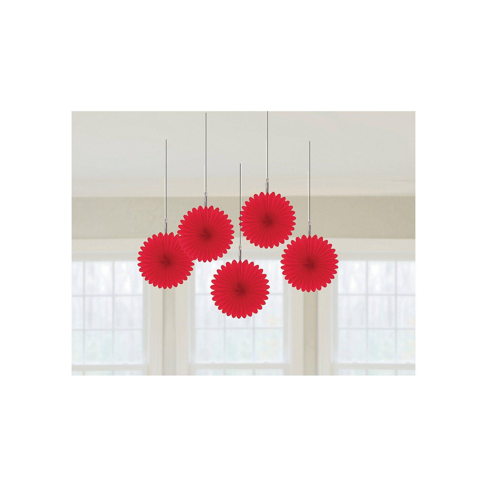 Amscan Deko-Fächer rot, 5 Stück