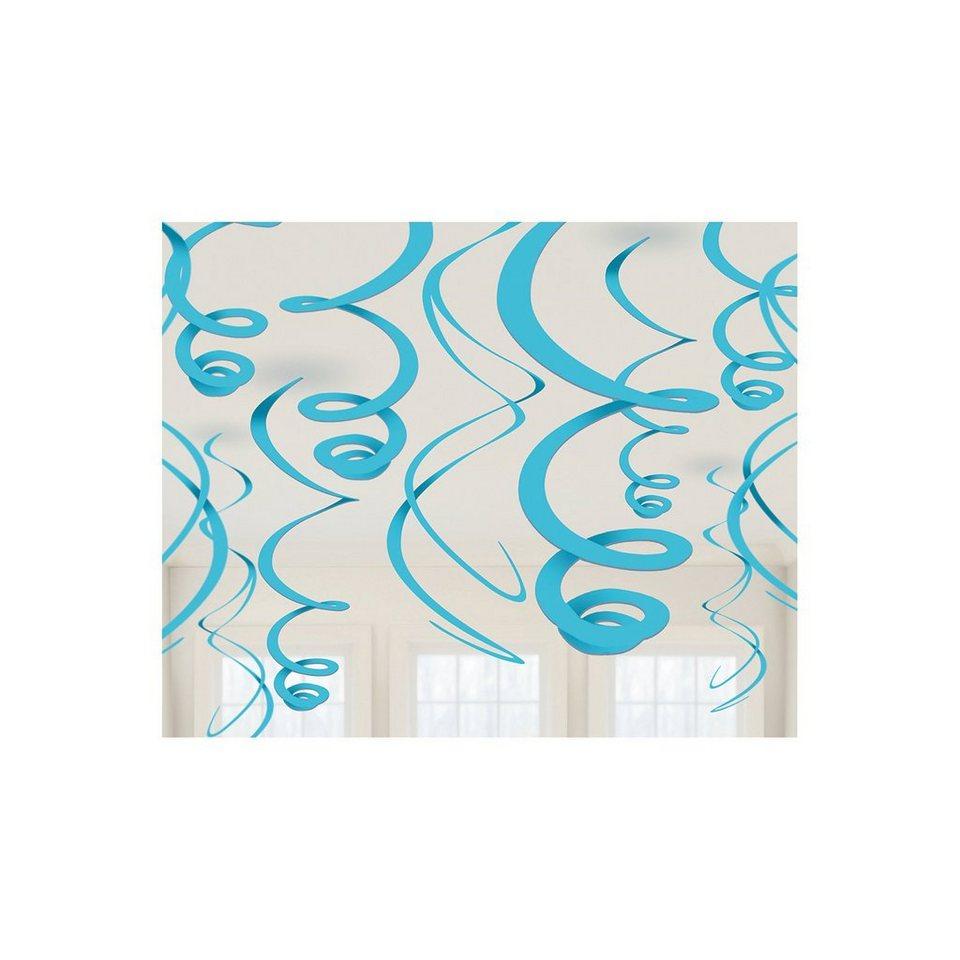 Amscan Dekospiralen hellblau, 12 Stück in blau