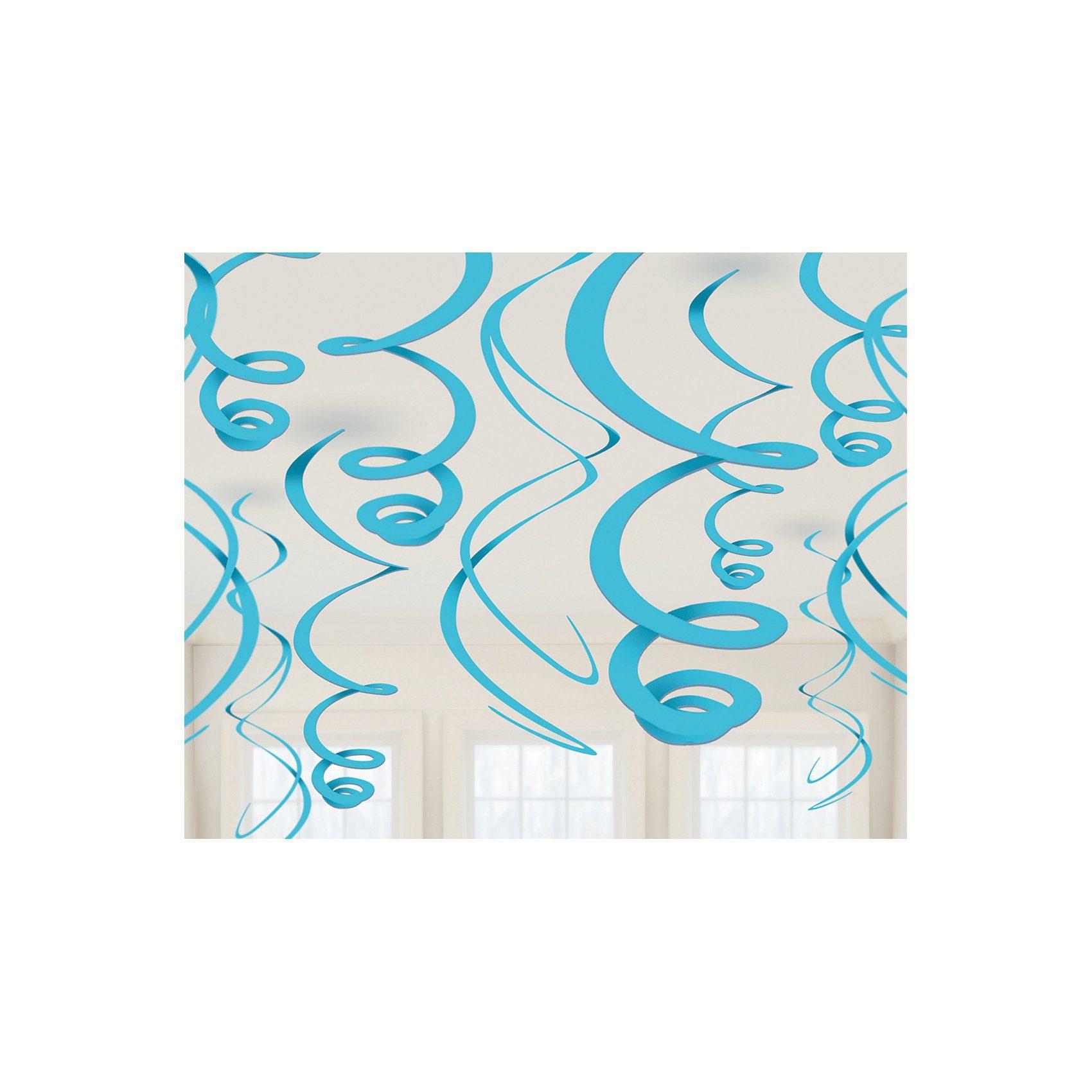 Amscan Dekospiralen hellblau, 12 Stück