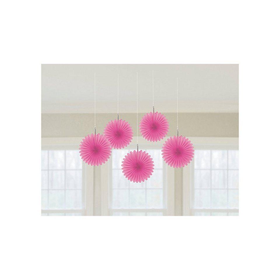 Amscan Deko-Fächer pink, 5 Stück in rosa