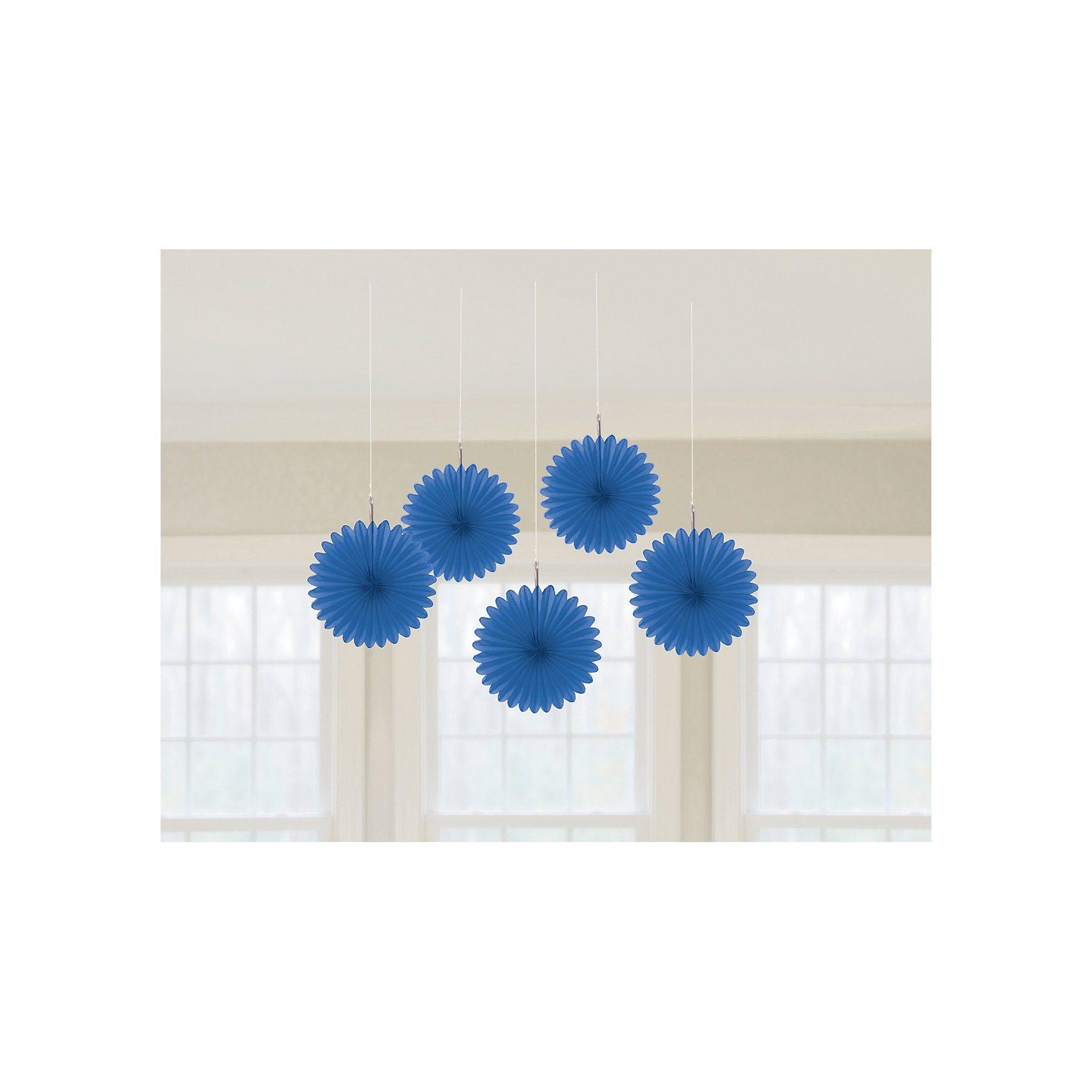 Amscan Deko-Fächer blau, 5 Stück