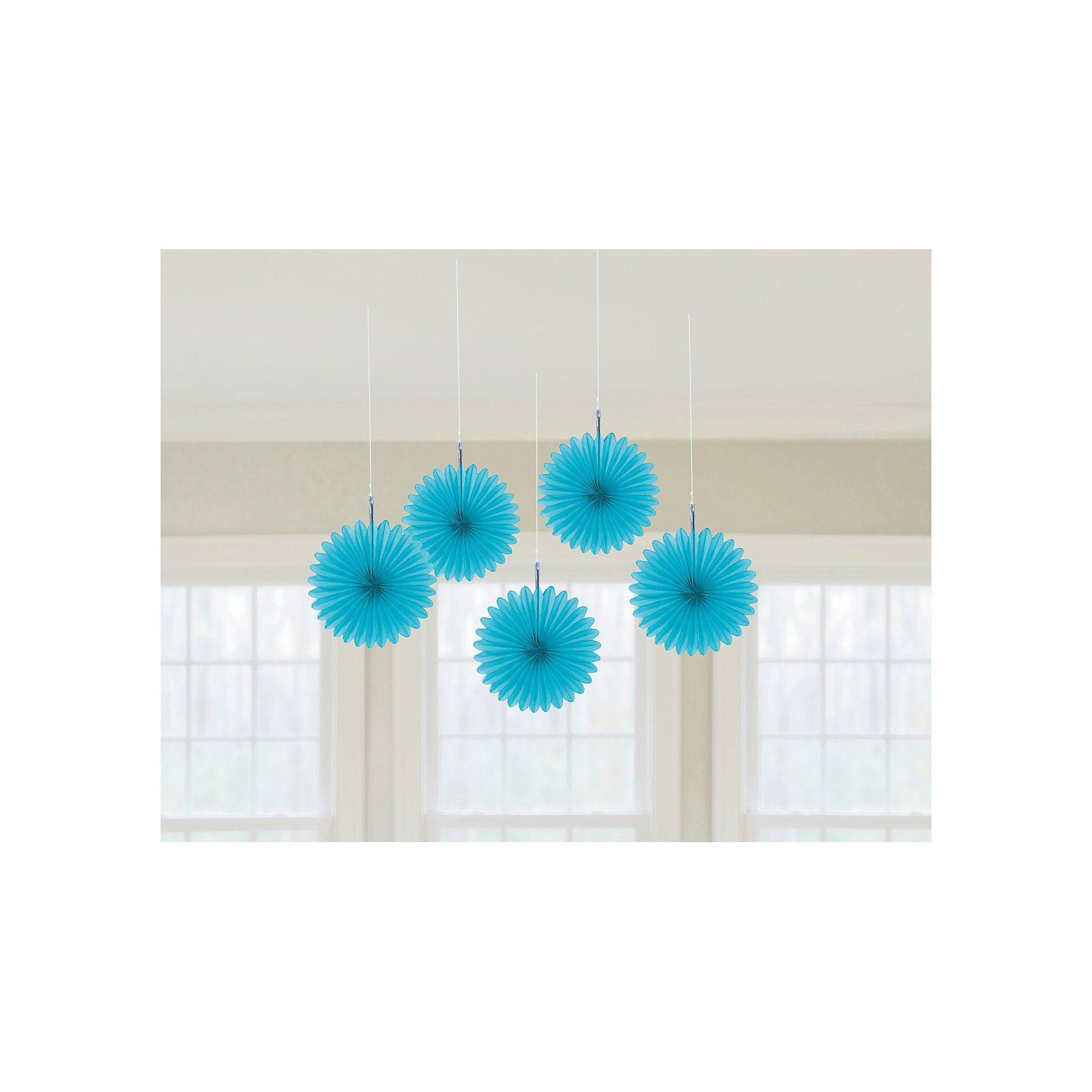 Amscan Deko-Fächer hellblau, 5 Stück