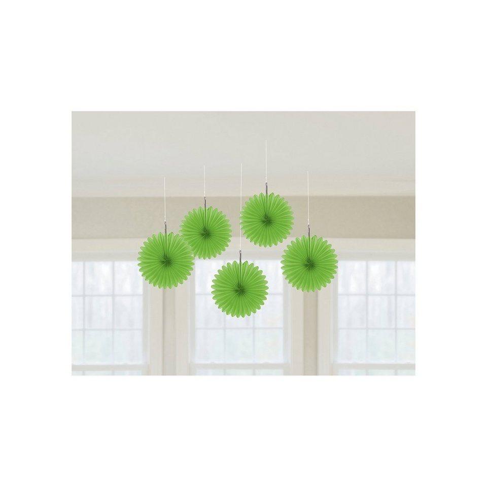 Amscan Deko-Fächer grün, 5 Stück in grün