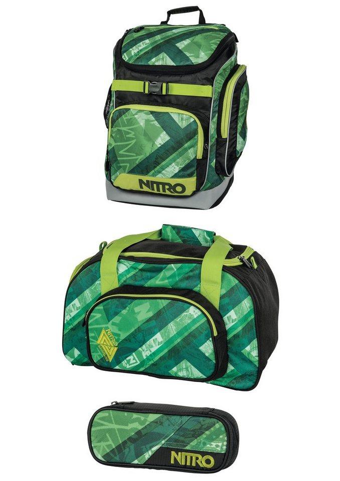 Nitro Set: Schulrucksack, Reisetasche u. Mäppchen, »Wicked Green«