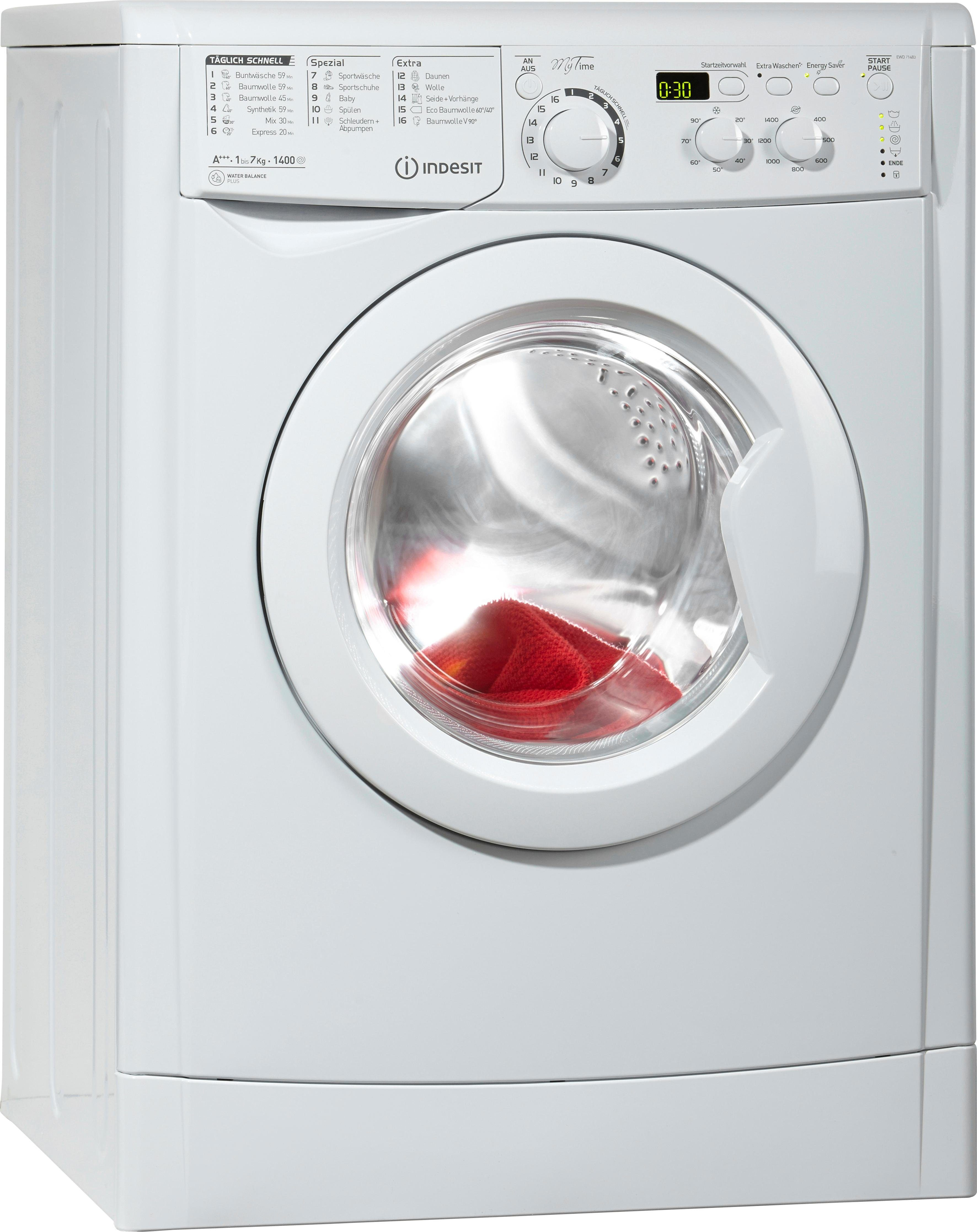 Indesit Waschmaschine EWD 71483 W DE, A+++, 7 kg, 1400 U/Min
