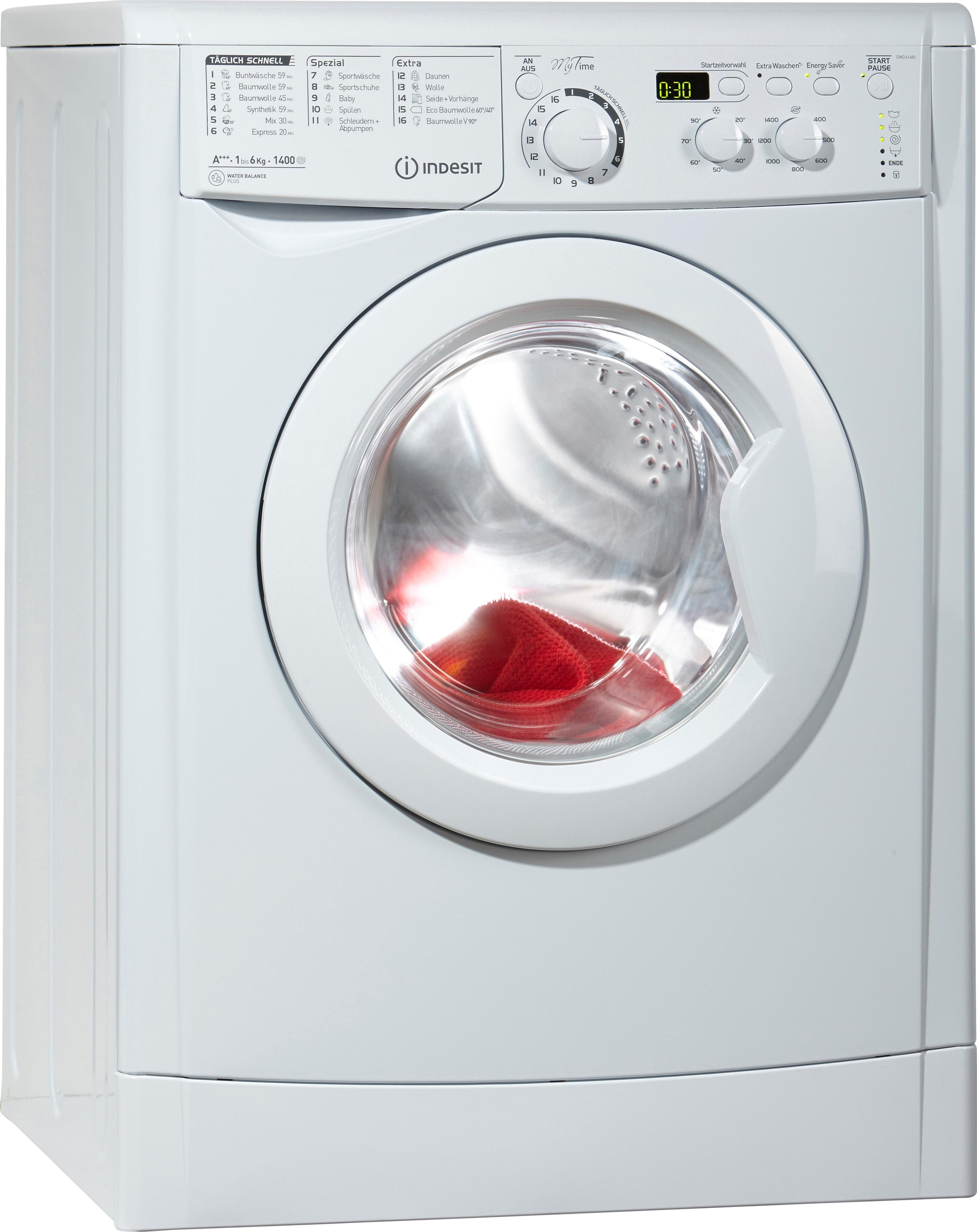 Indesit Waschmaschine EWD 61483 W DE, A+++, 6 kg, 1400 U/Min