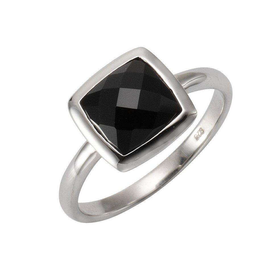 Zeeme Ring »925/- Sterling Silber rhod. Achat schwarz« in weiß