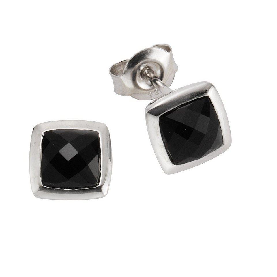 Zeeme Ohrstecker »925/- Sterling Silber Achat schwarz« in weiß