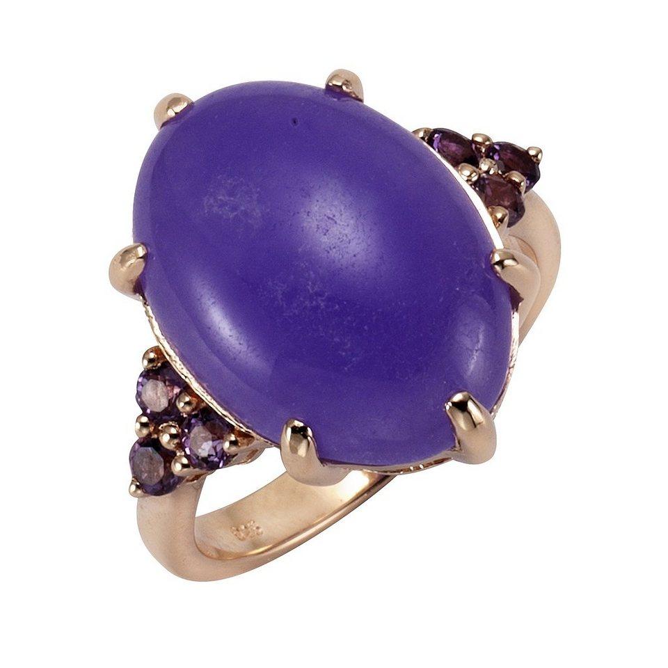 Zeeme Ring »925/- Sterling Silber Jade mit Amethyst« in rot