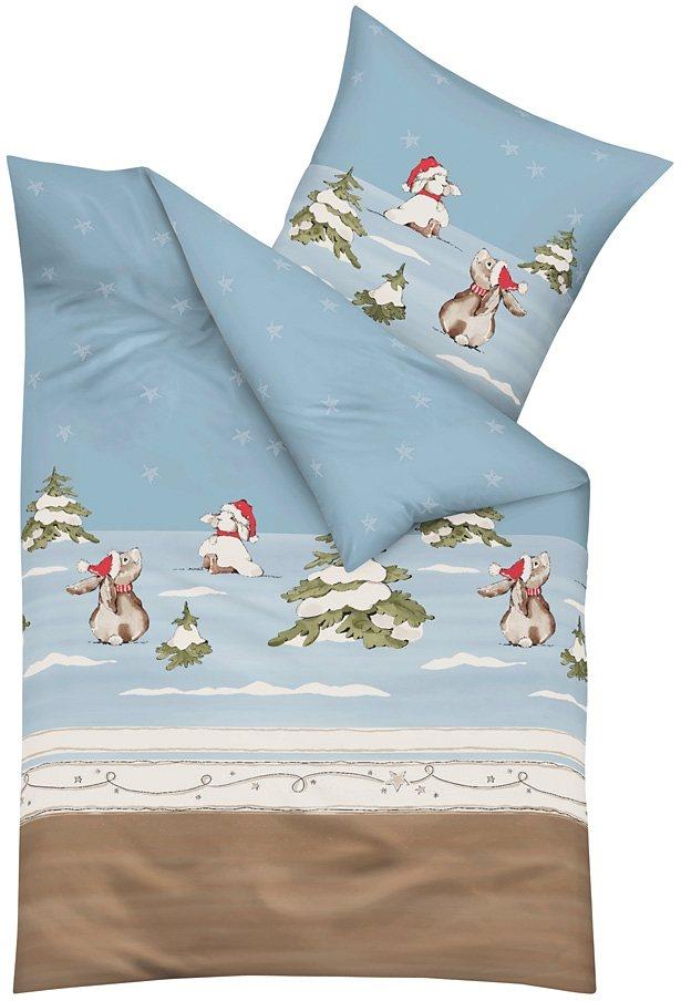 Bettwäsche, Kaeppel, »Schneehase«, mit süßen Häschen in hellblau