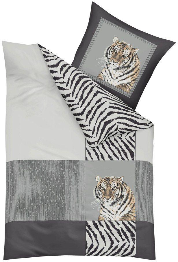 Wendebettwäsche, Kaeppel, »Indian Tiger«, mit Tiger-Motiv in silberfarben