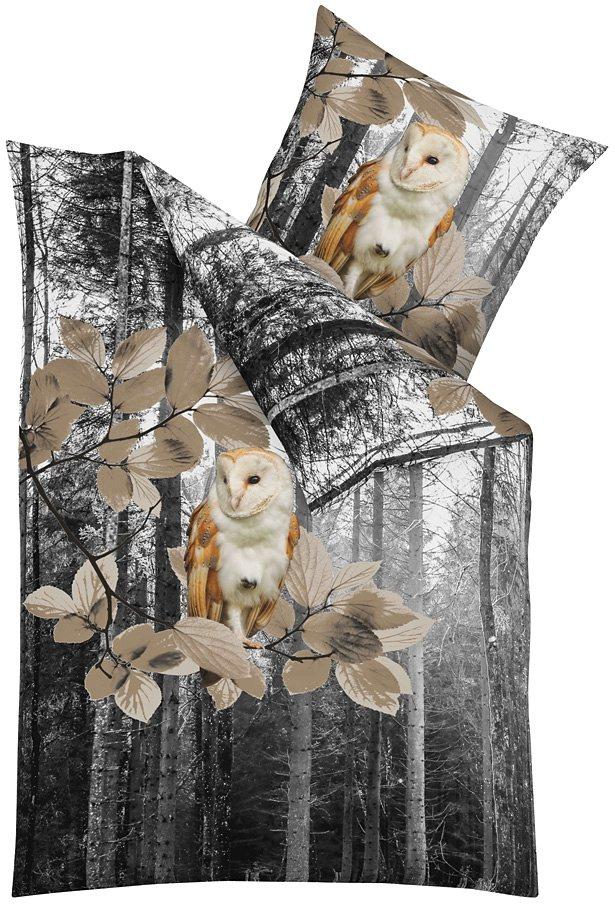 Bettwäsche, Kaeppel, »Forest«, mit Eulenmotiv in amber
