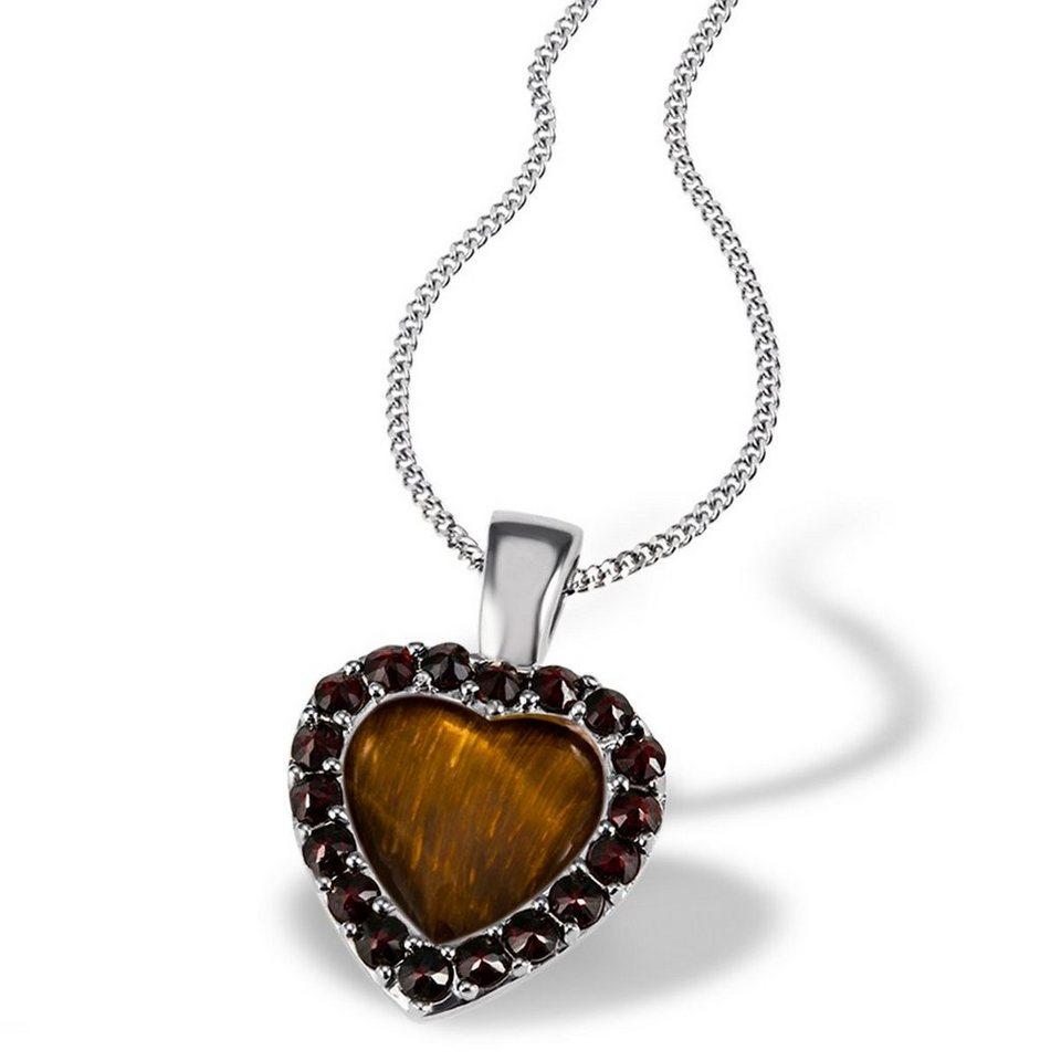 Averdin Collier 925/- Silber Herz mit 18 Granaten rot-braun und 1Tigerau in silberfarben