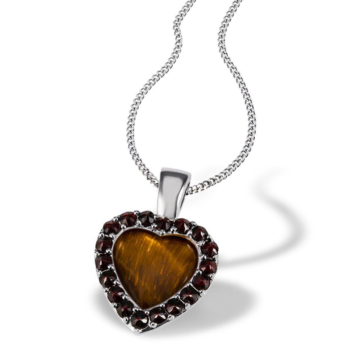 Averdin Collier 925/- Silber Herz mit 18 Granaten rot-braun und 1Tigerau